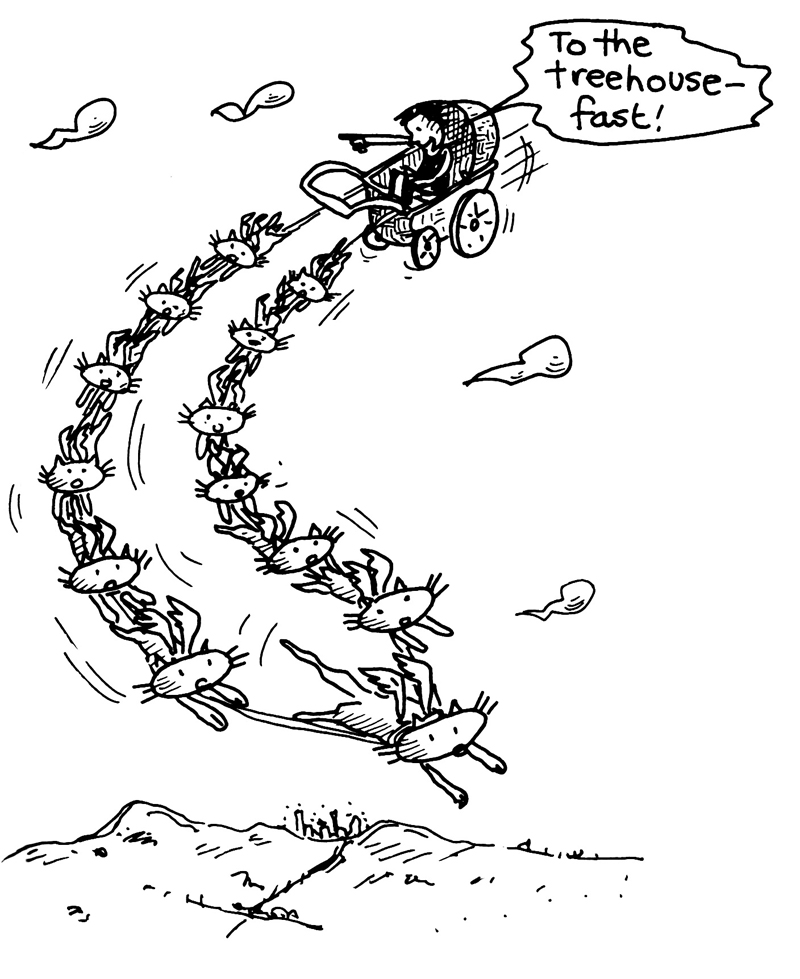 'TO THE TREEHOUSE - FAST!' Illustration by Terry Denton, from p. 49, 'The 26-Storey Treehouse' written by Andy Griffiths, published by Pan Macmillan, 2012